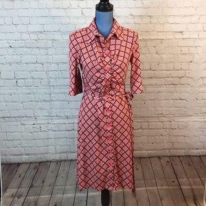 Laundry geo print shirt dress w belt